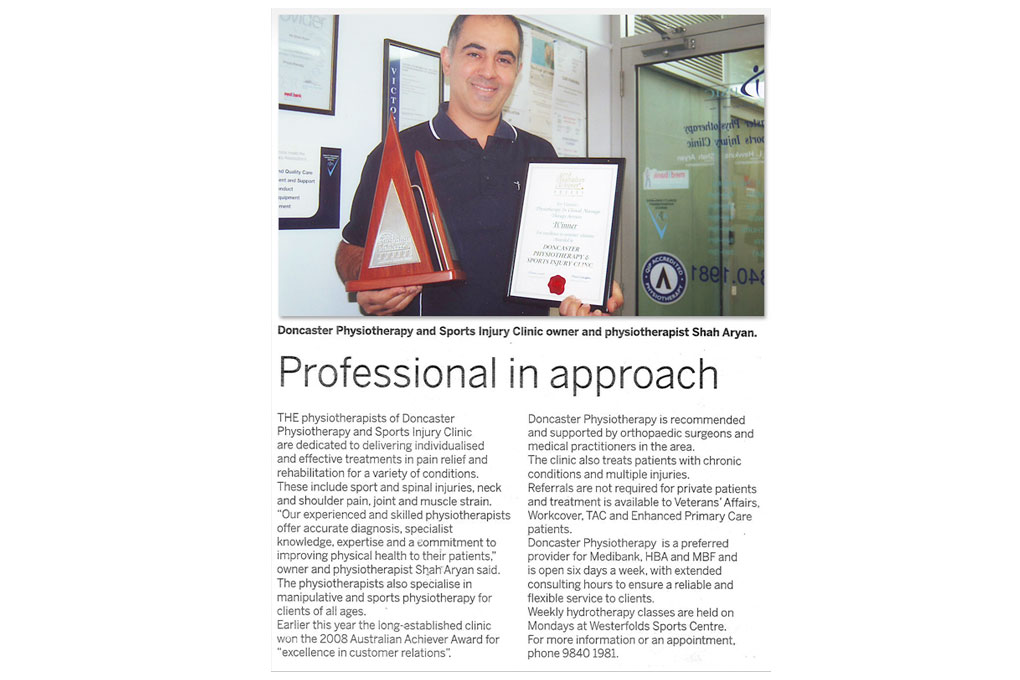 Melbourne City Physiotherapy Article Shah Aryan